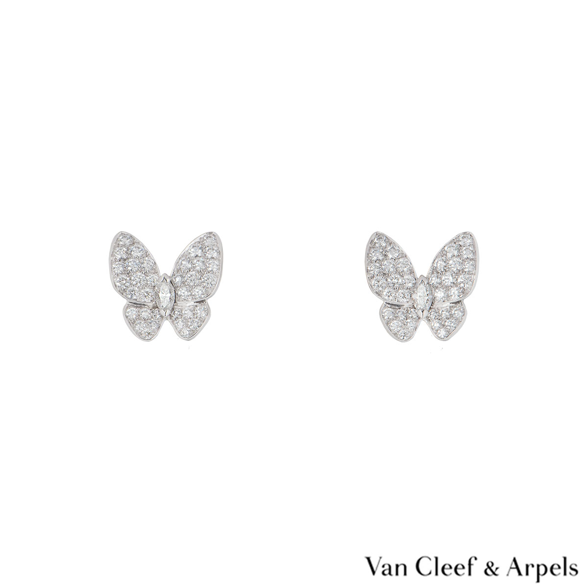 Van Cleef & Arpels White Gold Diamond Fauna Butterfly Earrings VCARB82900